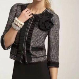 Ann Taylor Black Gray Tweed Virgin Wool Blazer